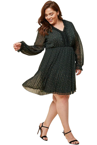 Plus Size Pleated A-line Polka Dot Dress