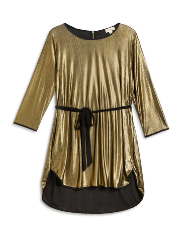 Miaia Gold Lamé Plus Size Tunic