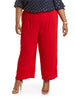 Janelle Red Plus Size Pearl Button Pants