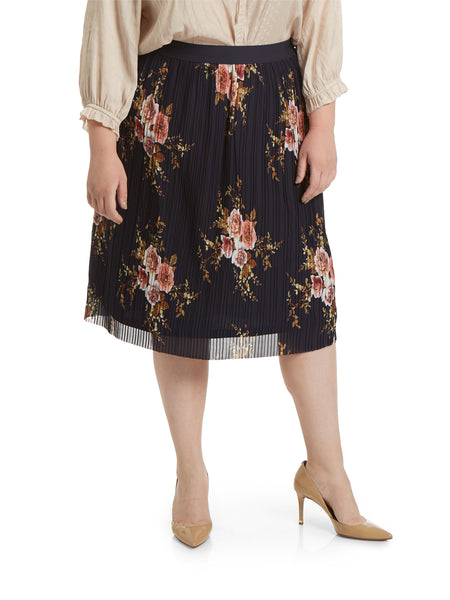 Lori Plus Size Pleated Chiffon Skirt