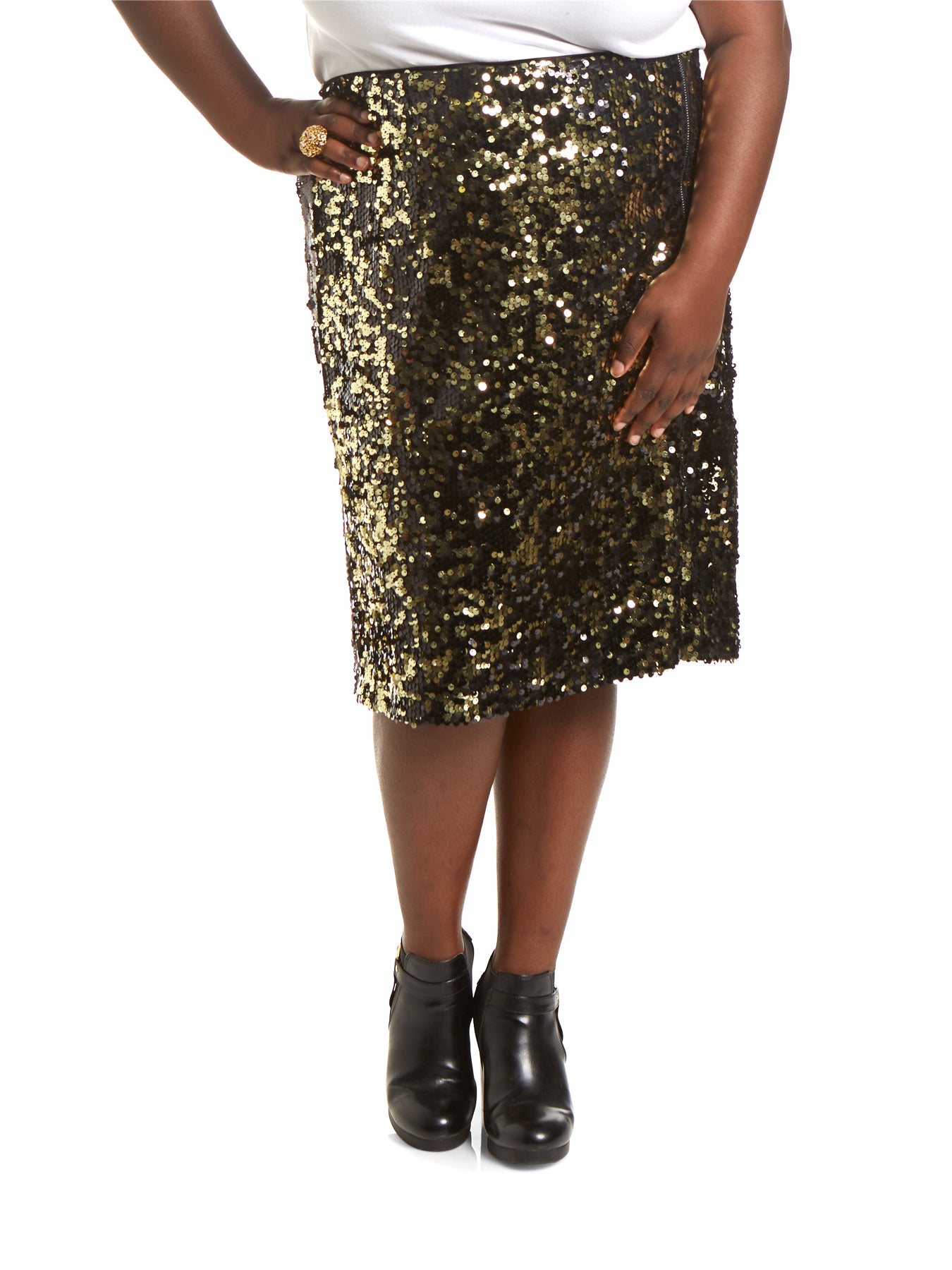 82f23c8851f LaTonya Plus Size Pencil Sequin Skirt With Slit