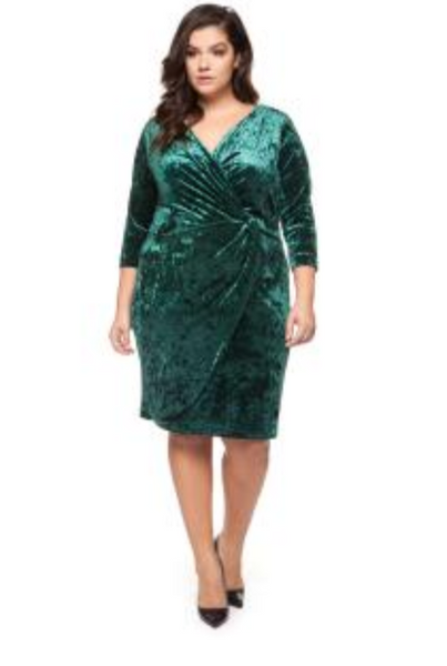Sarai Velvet Faux Wrap Plus Size Dress