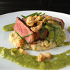 Seared New York Strip with Hominy Puree