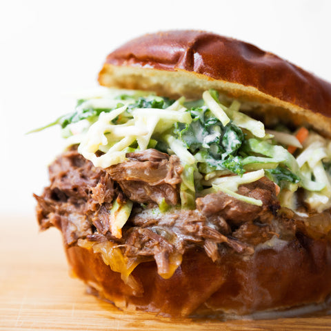 BBQ Beef Sandwiches with Broccoli Slaw