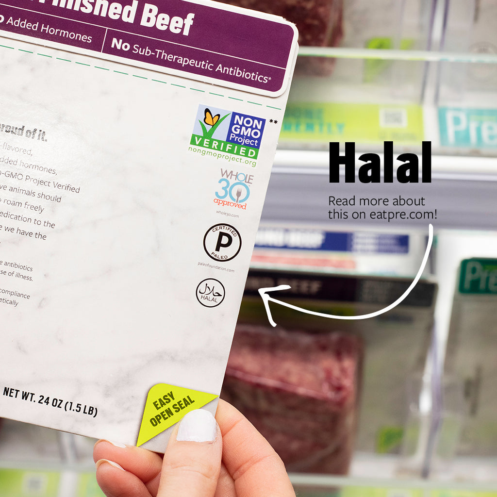 A package of pre beef with the Halal logo