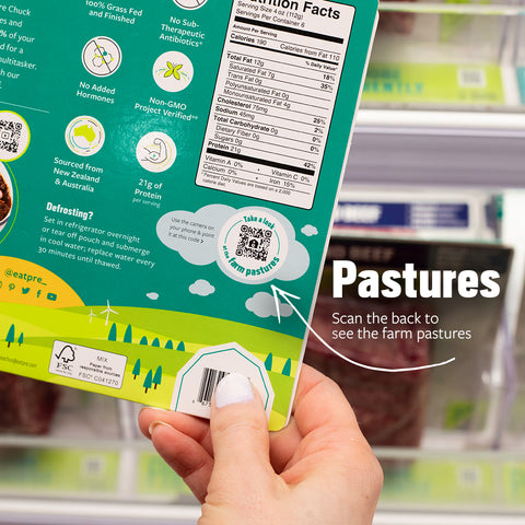 The back of a Pre beef package showing a pasture and a scan icon
