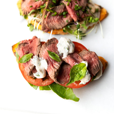 beef lettuce and tomato sweet potato toast