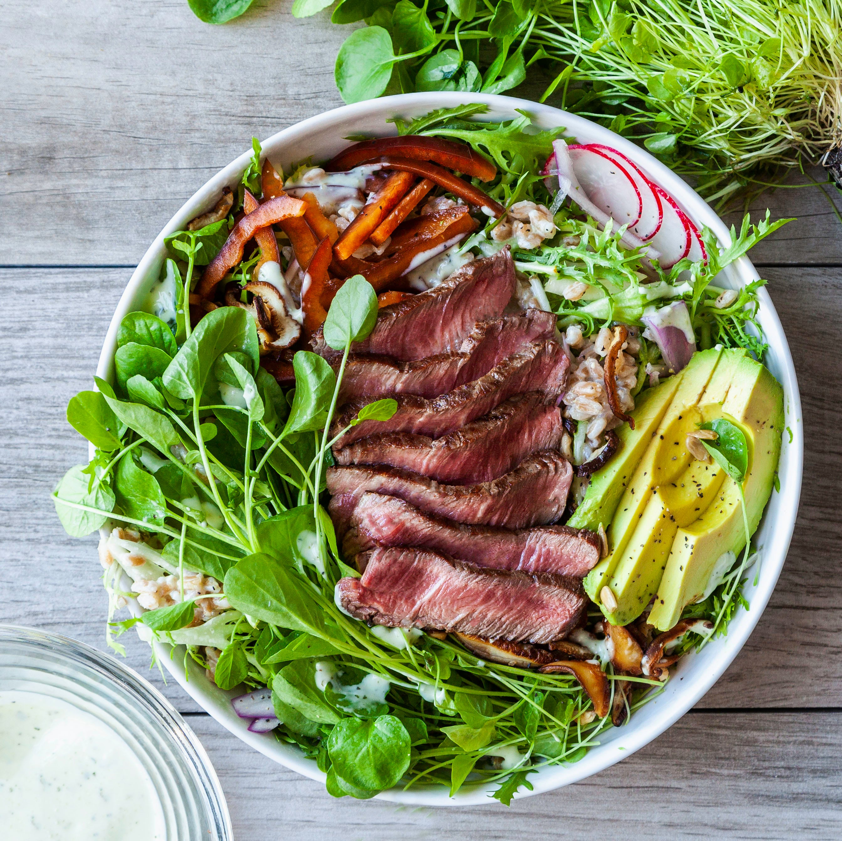 Green Goddess Filet Salad with Farro
