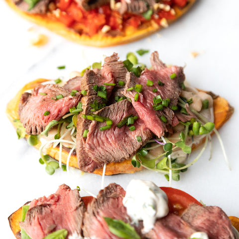 sweet potato toast with marinated beans and sliced top sirloin