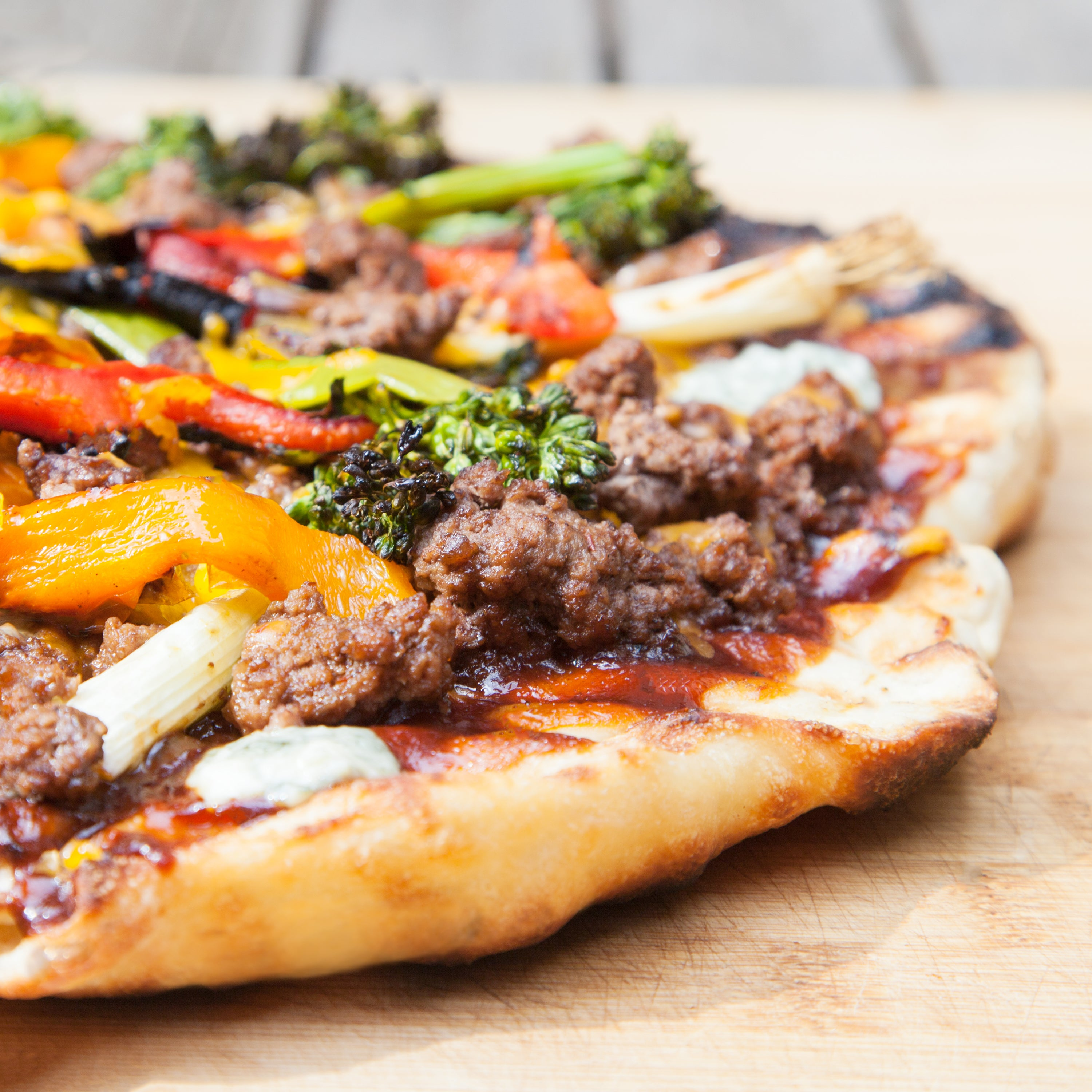 Grilled BBQ Beef Pizza