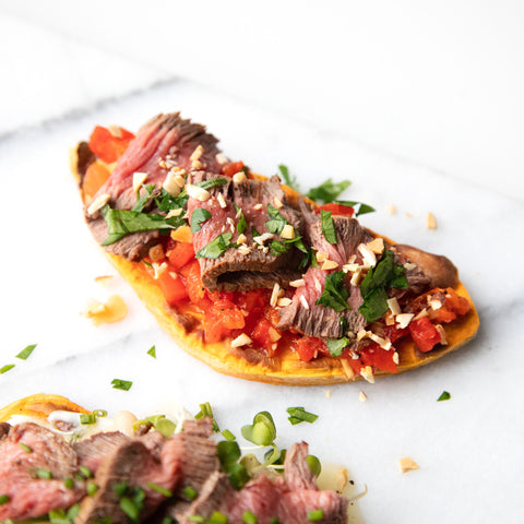 romesco style sweet potato toast with top sirloin
