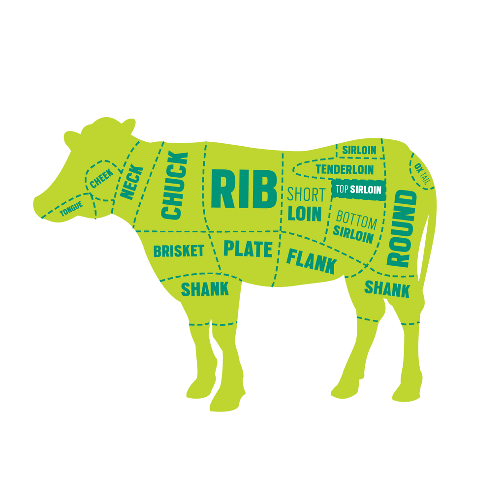 A diagram of cattle with the different areas that are cut for certain steaks