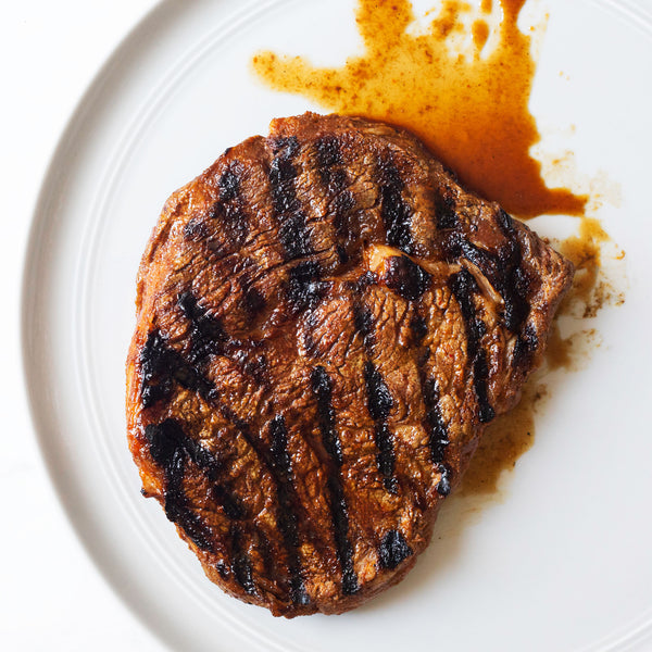 A steak with grill marks