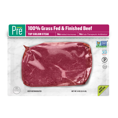 The front of a package of Pre Brands Top Sirloin Steak. It has a transparent film to see the steak and the logos on the right say Whole30, Paleo, and Halal, and Non-GMO Project Verified.