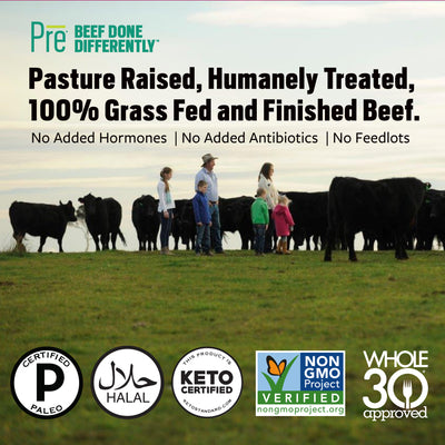 "A Pasture with a family and cattle with text that says ""Pasture Raised, Humanely Treated, 100% Grass Fed and Finished Beef."" No Added hormones, no added antibiotics and no feedlots."