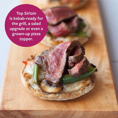 Top Sirloin is kebab ready for the grill, a salad upgrade, or even a grown-up pizza topper. (A picture of top sirloin sliced on a piece of bread with mushroom and pepper)