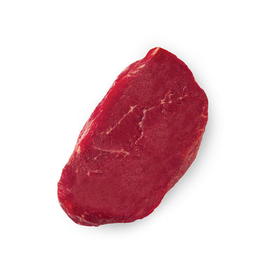 A photo of a raw top sirloin steak on a white background.