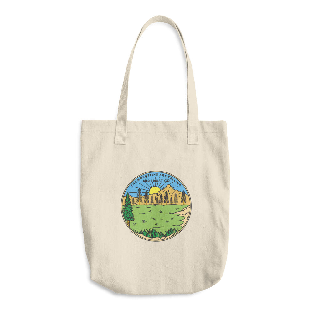 The Mountains Are Calling And I Must Go Woven Cotton Tote - Sea Through Love