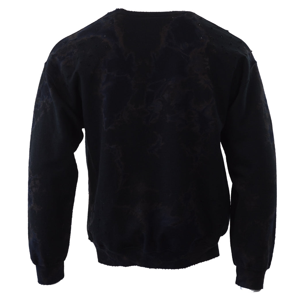 Mineral Wash Black Crew Neck Sweatshirt with distressed holes - C401-B