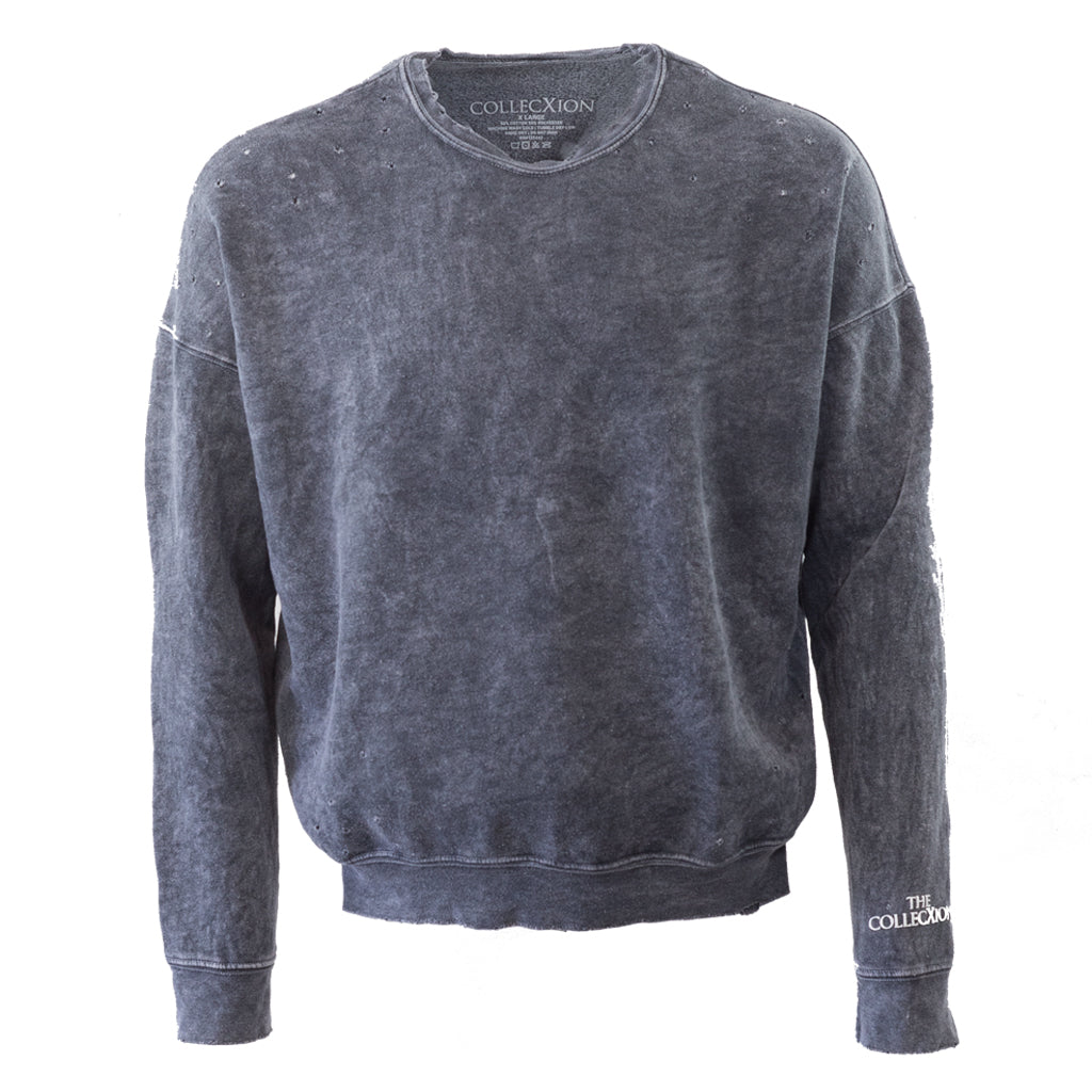 Mineral Wash Crew Neck Sweatshirt with distressed holes - C401
