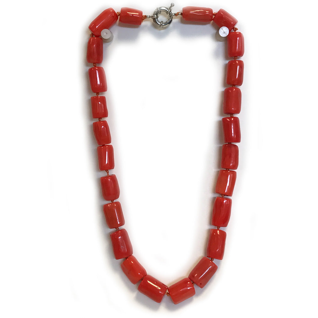 Chunky Orange Sea Bamboo Coral Tube Necklace