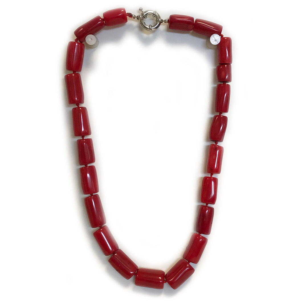 Chunky Red Sea Bamboo Coral Tube Necklace
