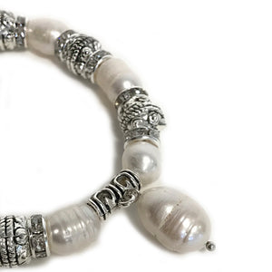 White Pearls Bracelet With a Fresh Water Pearl Charm