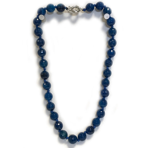 Dark Sea Blue Semi Precious Round Bead Necklace