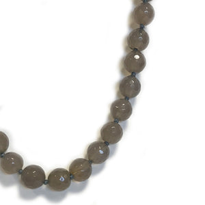Grey Semi Precious Round Bead Necklace