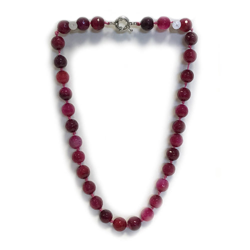 Pink Semi Precious Round Bead Necklace