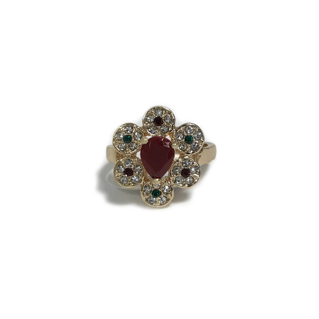 Red Flower Crystal Ring
