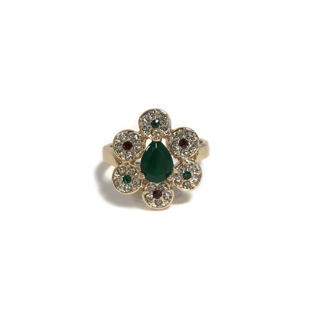 Green Flower Crystal Ring
