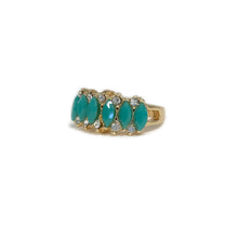 Gold and Teal diamond Ring