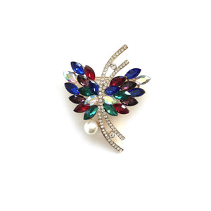 Multi Colour Crystal Butterfly Brooch