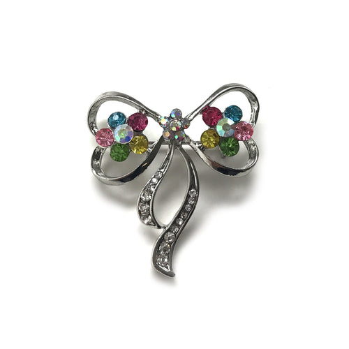 Silver Bow with Multi coloured flower Brooch