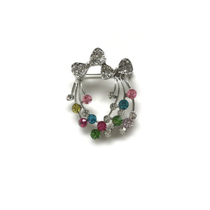 Silver Bow with Multi colour beads Brooch