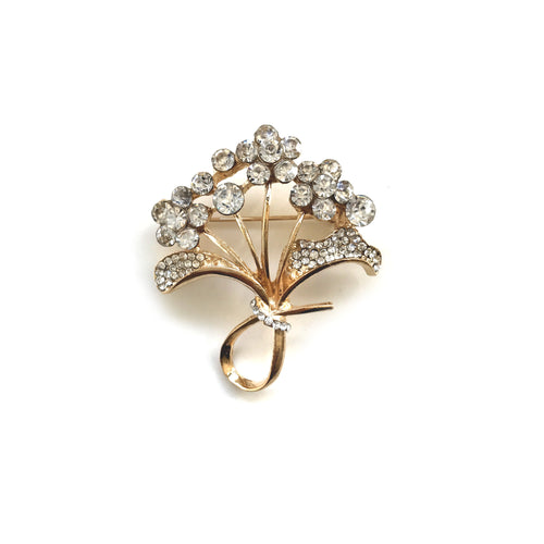 Gold Tree with flower diamonds Brooch