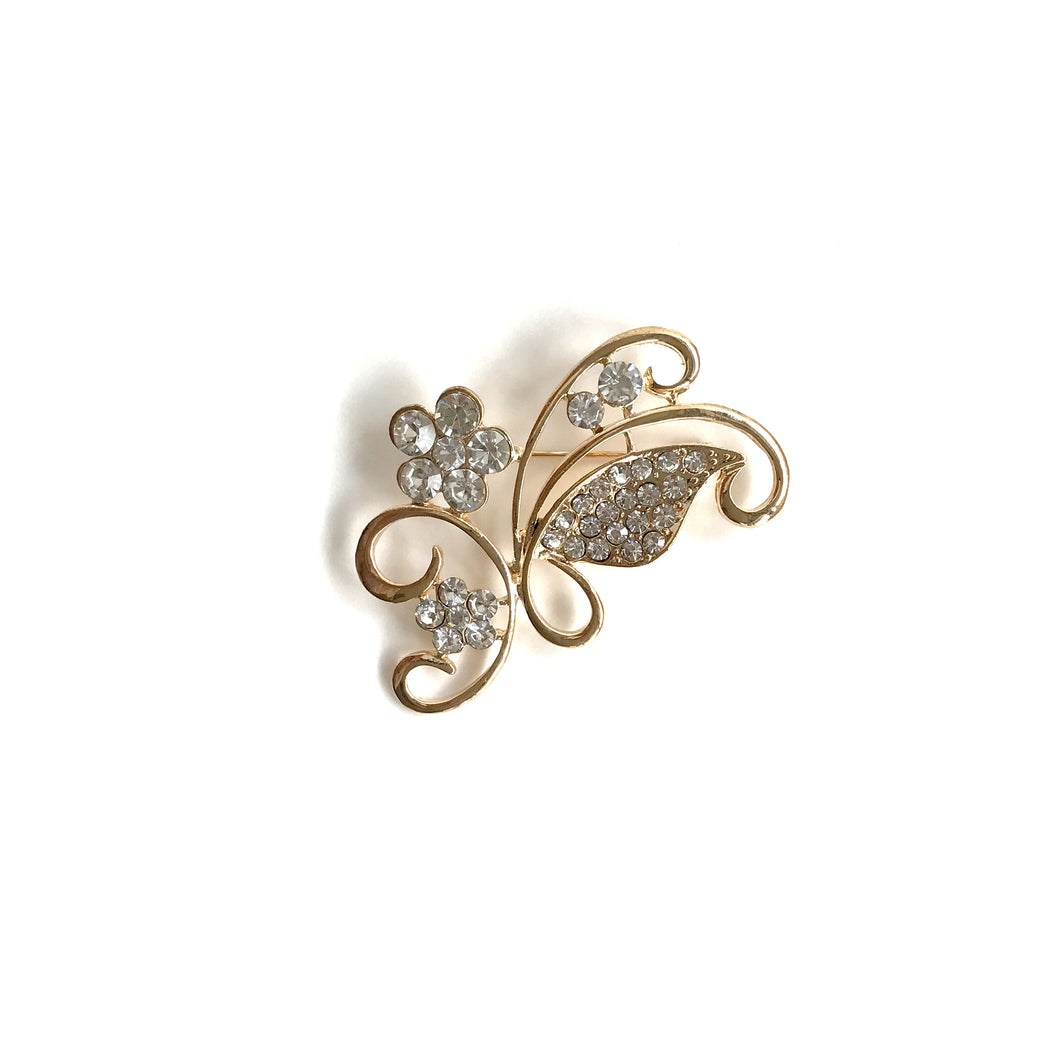 Gold Diamante Flower and Petals Brooch