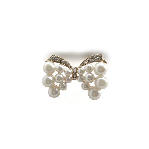 Faux Pearl Bow Brooch