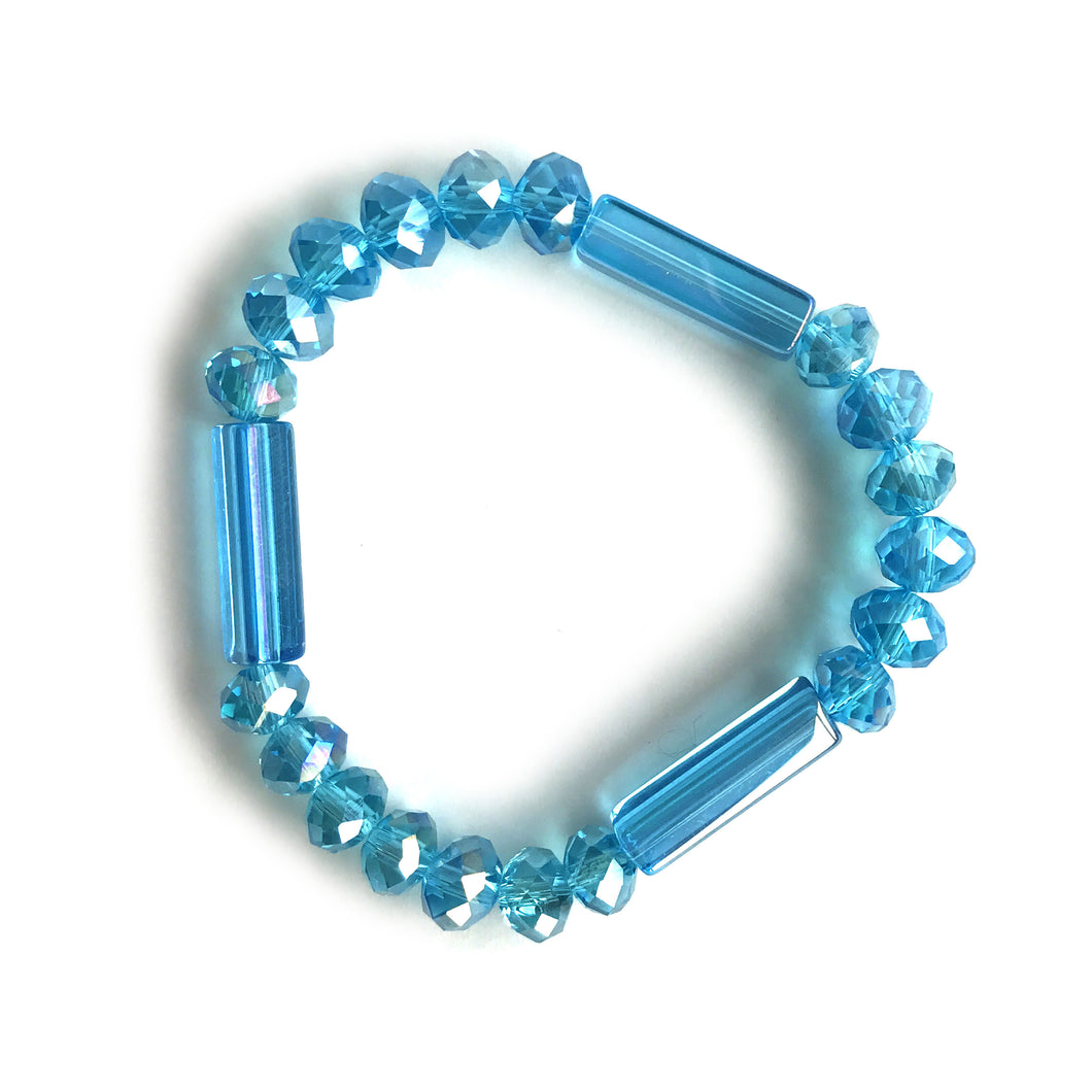 Rectangle Turquoise Crystal Glass Bracelet