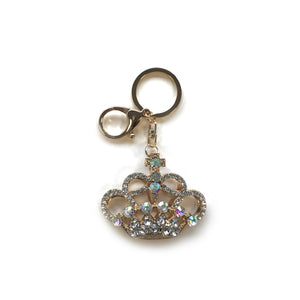 Gold Crystal Crown Keyring