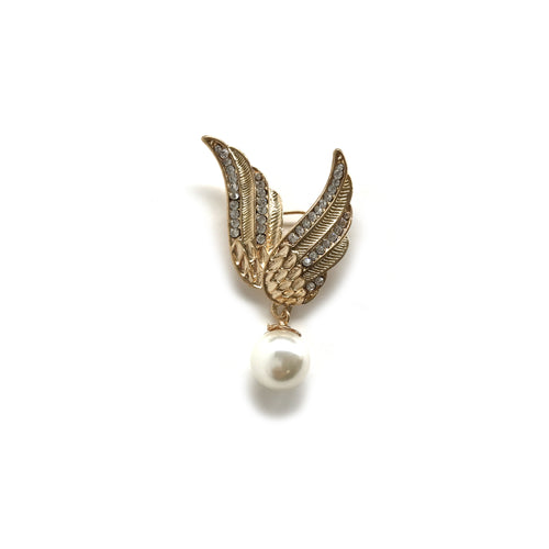 Gold Angel Wing with a Pearl Brooch