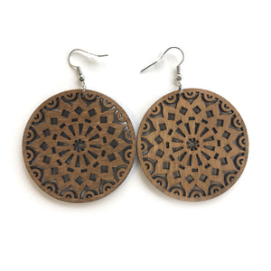 Brown Mosiac Wooden Earring