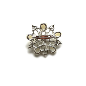 Faux Pearl with Diamond Flower Brooch