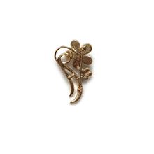 Gold Faux Flower with Pearls Brooch