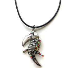 Multi-Coloured Parrot Pendant On Leather Cord Necklace