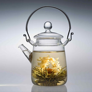 Teaposy lady fairy blooming tea in the tea for one glass teapot with a stainless steel handle and a filter at the spout