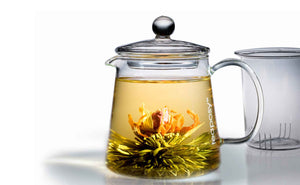 Teaposy heart of love blooming tea in the tea-for-two glass teapot with a glass filter