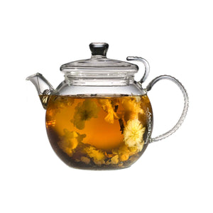 Teaposy chrysanthemum pu er tea in the daydream glass teapot