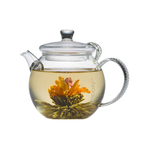 Teaposy heart of love tea blosomming in the daydream glass teapot